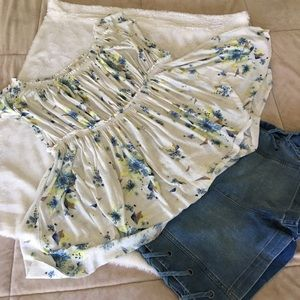 EUC Free People floral white off the shoulder top
